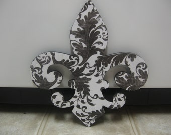 Black and White Damask Fleur De Lis Wall Hanging-Damask Fleur De Lis Room-Wall Decor