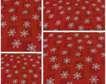 Red Christmas Fabric, Hanukkah Fabric, Traditional White Snowflakes, Decorative Fabric, Apparel/Quilt/Diy/Craft Supplies/Sewing Supplies