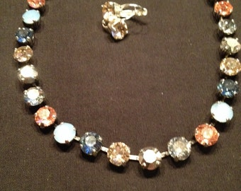 Swarovski 8mm multicolored necklace/earrings
