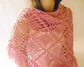 Pink Fringe Shawl