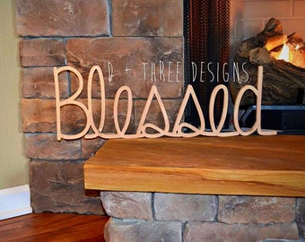 Blessed Wood Sign, Wall Decor, Wooden Letters, Home Decor, Shelf Sign