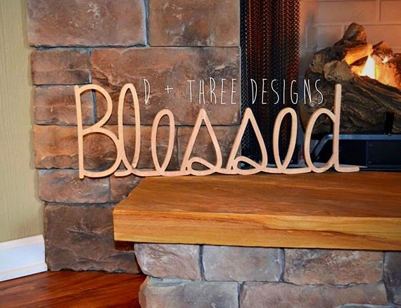 Blessed Wood Sign Wall Decor Wooden Letters Home Decor