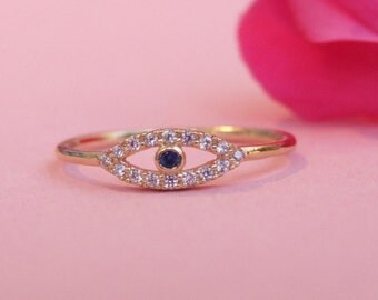 CZ Evil-Eye Protection Ring, 14K Gold Plated Ring
