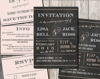 Chalkboard Wedding set printable Invitation RSVP Save the date Evening reception and Info | Wedding Invitation Suite | Chalkboard