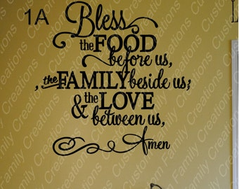 Bless The Food  Vinyl Wall Decal Design #1,Family wall Quote,Family Wall Decal, Home Decor, custom wall quote, Vinyl Wall Decal