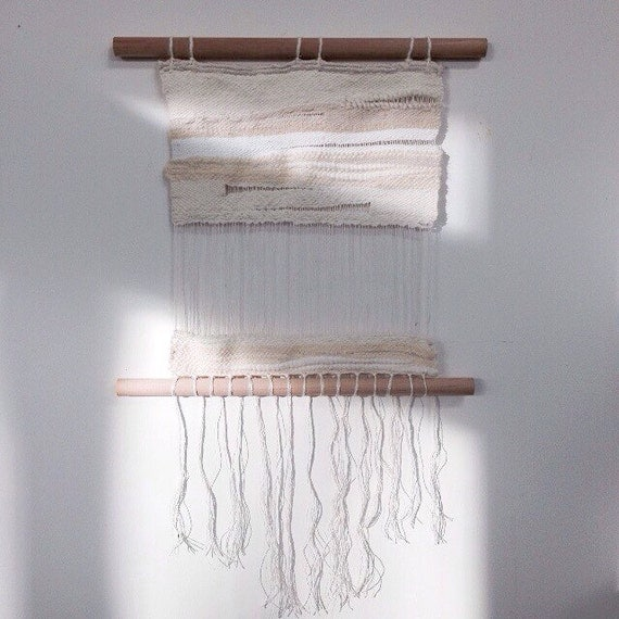 Handwoven White On White Tapestry ∇ Cotton Wall Hanging∇ Monochromatic Tapestry ∇