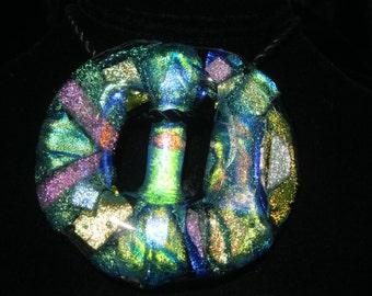 Sash Buckle, Dicroic Glass Ornament,Art Glass Buckle