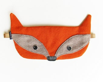 Fox sleepmask with pouch valentines gift: eye mask silk sleep mask gift for her travel mask