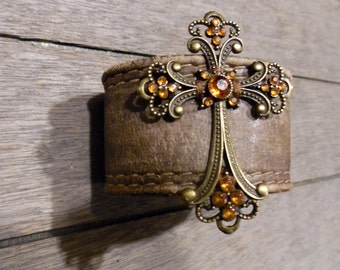 Brown Brass Amber Rhinestones Cross Pendant Distressed Up-Cycled Leather Cuff Bracelet