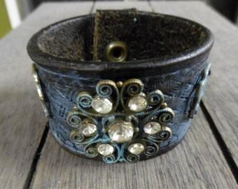 Turquoise Blue & Black Bronze Rhinestones Roses Filigree Painted Up-Cycled Leather Cuff Bracelet