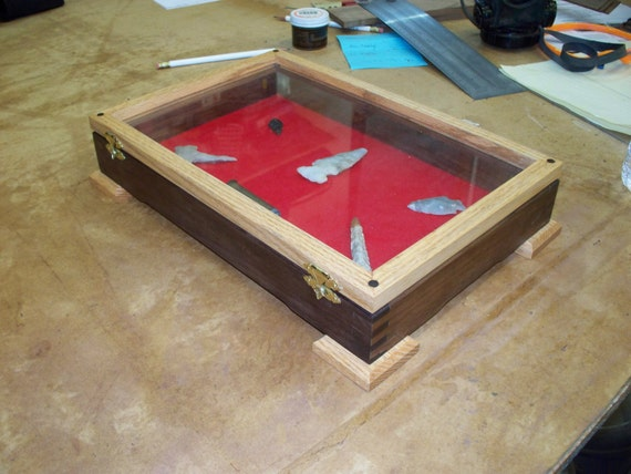 Wood and Glass - Arrow Head / Knife/ Pistol Display Case