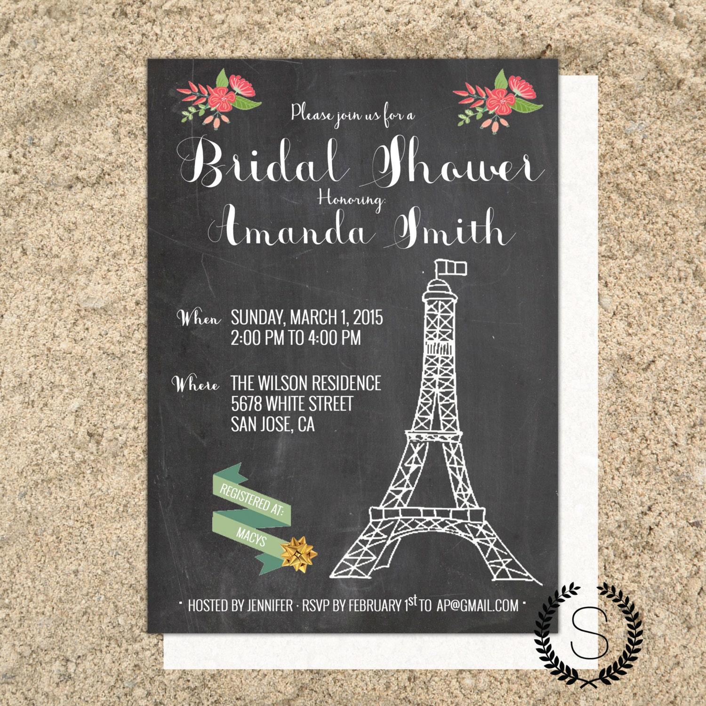 Parisian bridal shower invitation parisian theme bridal for Paris themed invitations bridal shower
