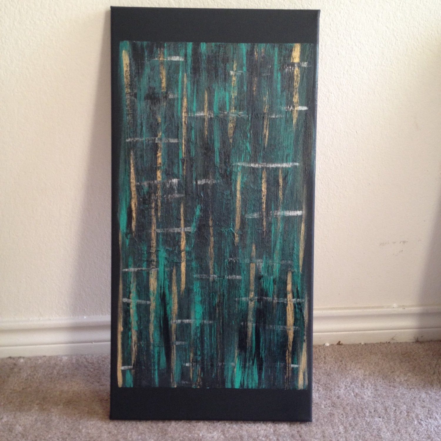 acrylic on black canvas abstract painting 39 frequency
