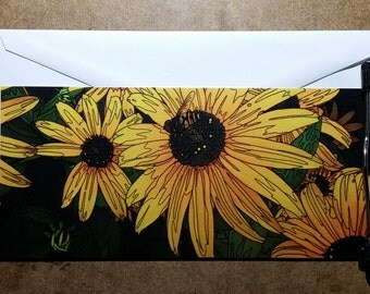 Black Eyed Susan, inked by hand, one-sided blank card with envelope