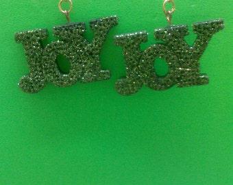Green Glittery Joy Earrings