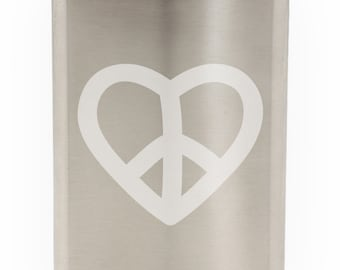 Peace And Love Heart Design Etched Hip Flask 8oz