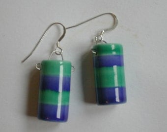 Pair of porcelain fat tube earrings, blue and green glaze stripes, silver hooks