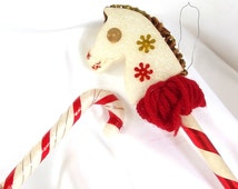 Vintage Christmas Ornaments; Red and White Stick Horse and Candy Cane Pick