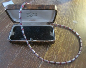 925 silver necklace - vintage - red beads