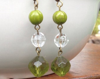 Shades of green czech glass beaded dangles