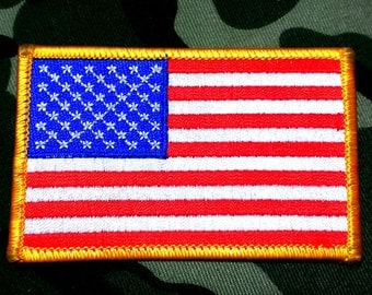Vintage Military Gold Border American Flag Patch 3 1/2'' X 2 1/8''