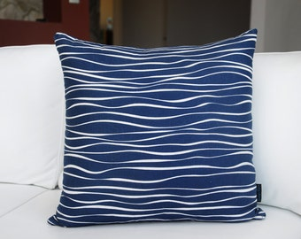 "Water ripple cushion cover, modern, hand-printed blue print on white linen/cotton 20"" x 20"" (50cm x 50cm), unique design to Indigo Rose"