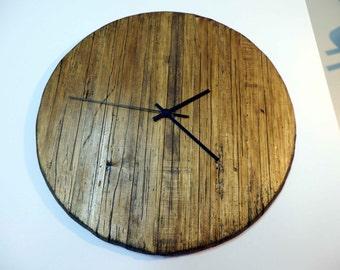 Vintage HandMade Walnut Wooden Rustic Wall Clock