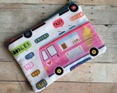 Food trucks fabric zippy purse, make up pouch
