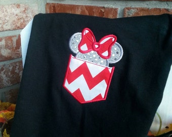 Adult Minnie Mouse Pocket Shirt, Minnie Ears/Head w/ Bow Applique Shirt. Will come as pictured unless specified.Adult Disney Shirt.
