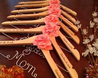 Set of 6--personalized hanger, custom-made hanger, bride hanger, wedding hanger, bridesmaids hanger.