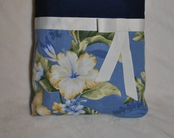 Navy & Floral Tote Bag