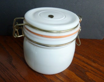 vintage white canister