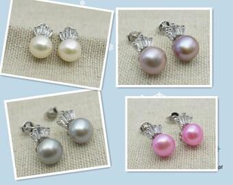 pearl stud earrings,SELECT PEARL COLOR,genuine freshwater pearl earrings,silver,Zircon Earrings,bridesmaid,Wedding,Love,bridal,birthday, E31