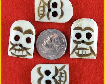 Tribal Flat Bone Skull Beads - Lot of 4