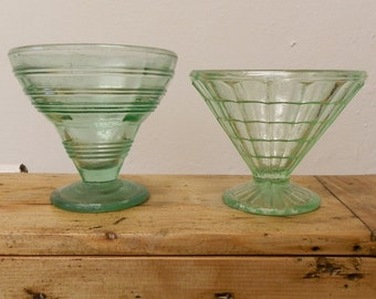 Two 1930's Vintage Art Deco Green Glass Sundae / Ice Cream Dishes