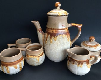 Mid Century Classic Earthy and Gritty Tundra Pottery Coffee Pot Cream Sugar and Mugs Canada