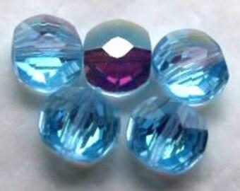 Vintage Swarovski  Aquamarine blue AB 5x6m lentil crystal beads 12