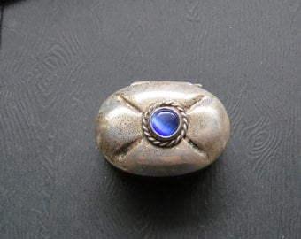 Vintage Antique Sterling Silver Pill Box Blue Stone Taxco