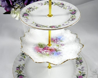 Cake stand 3 tier plate stand handmade from vintage china serving plates