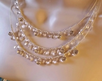16' necklace made with crystals and silver beads