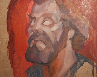 Vintage abstract male portrait oil painting