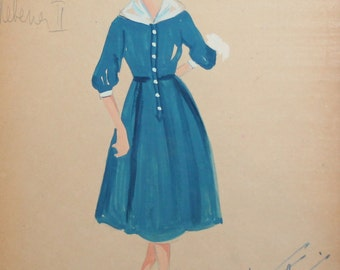 1961 Gouache painting woman theatre costume design signed