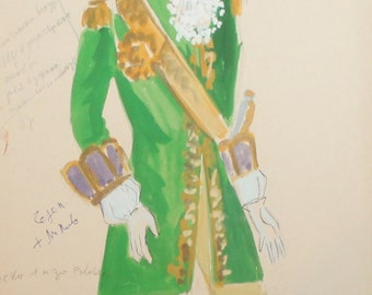 Vintage Male theatre costume design gouache painting signed