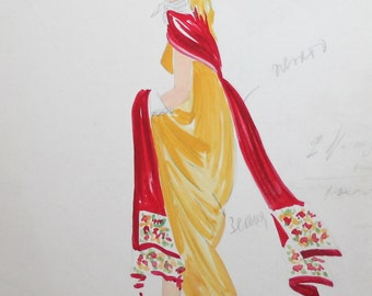 Vintage theater costume gouache painting signed