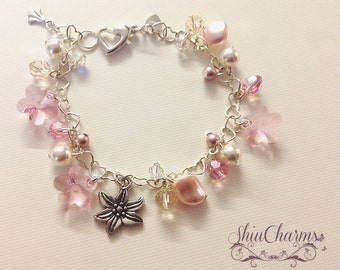 Beautiful Sweet Floral Swarovski Heartlinked Charm Bracelet