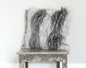 Siberian Wolf Faux fur pillow cover, cushion cover, fur decor, gift for him, winter decor