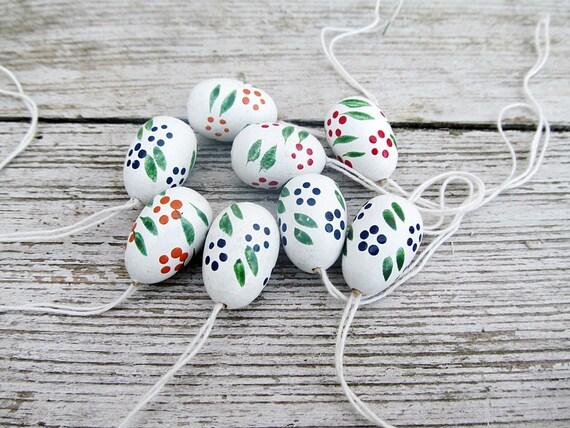 8 mini vintage german Easter egg ornaments. German wood.