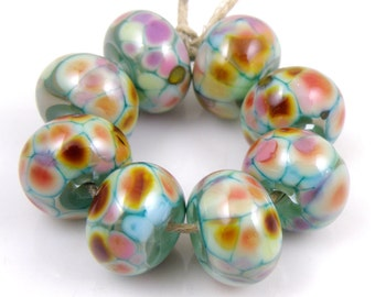 Debutante SRA Lampwork Handmade Artisan Glass Donut/Round Beads Made to Order Set of 8 8x12mm