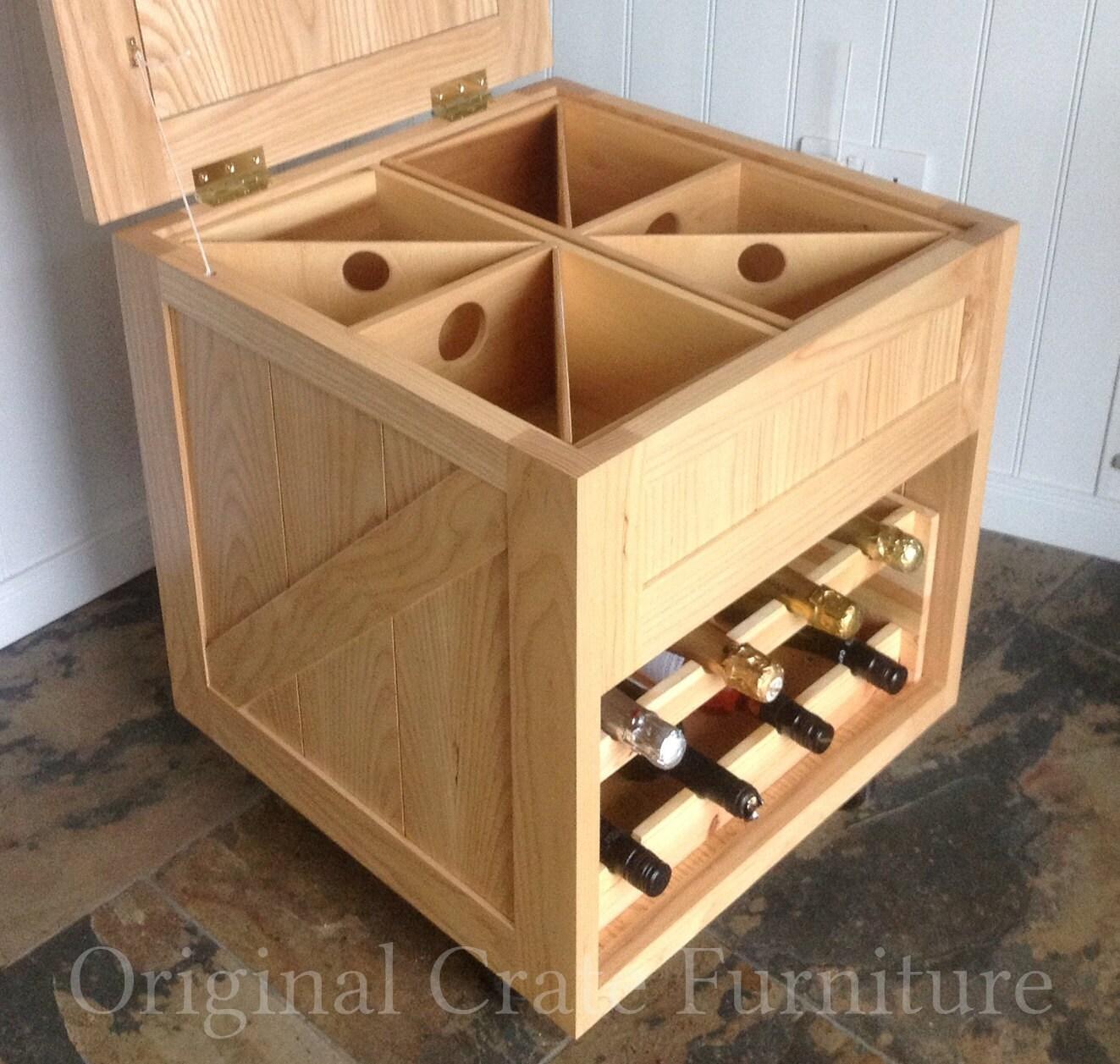The wine crate a unique wine rack conversation furniture for Wine crate furniture