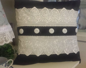 25% OFF Dainty Chic Black and White Lace Pillow......now 12.00
